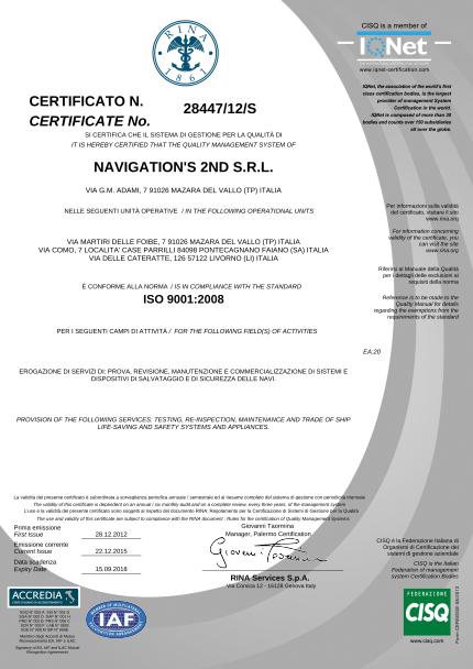 Certificato 2nd ISO RINA 9001 2008