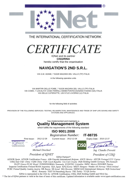 Certificato 2nd QNet ISO 9001 2008
